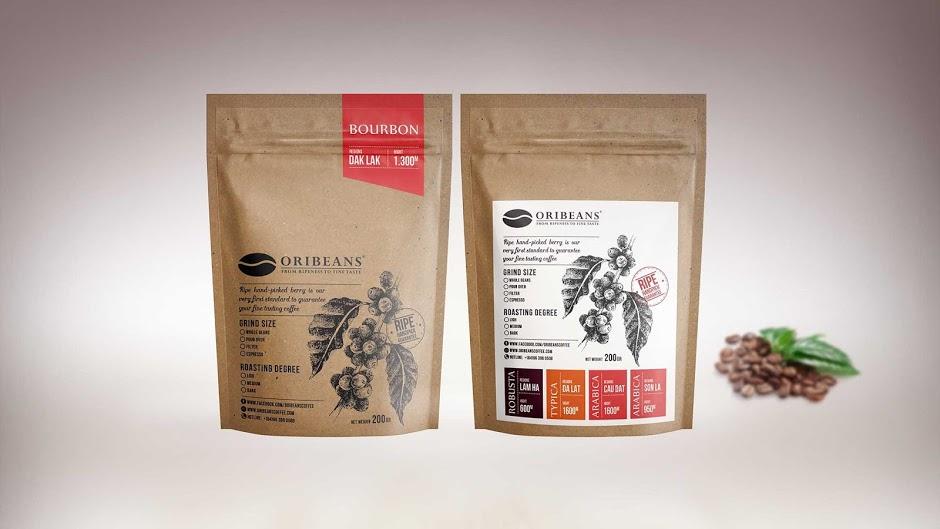 Mẫu in túi giấy kraft đựng cà phê Oribeans