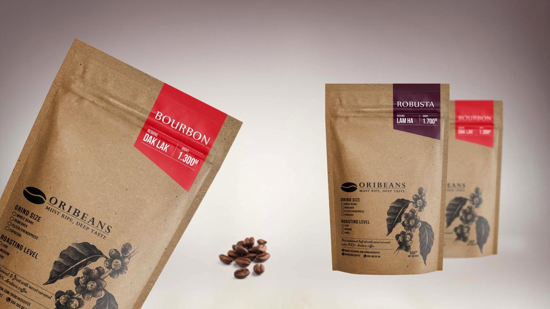 Thiết kế túi giấy đựng cà phê Oribeans