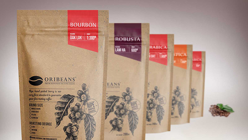 In bao bì giấy đựng cà phê Oribeans
